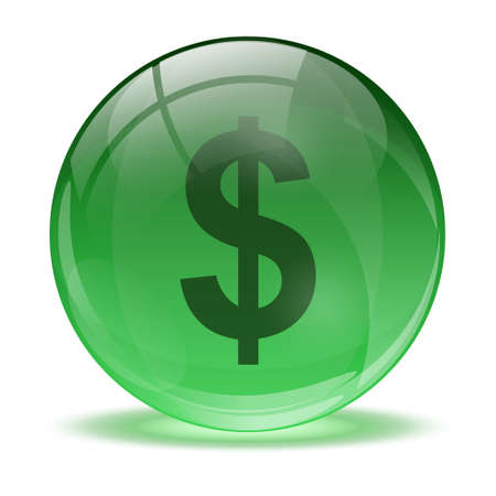 3D glass sphere and green dollar icon Stock Vector - 17478876