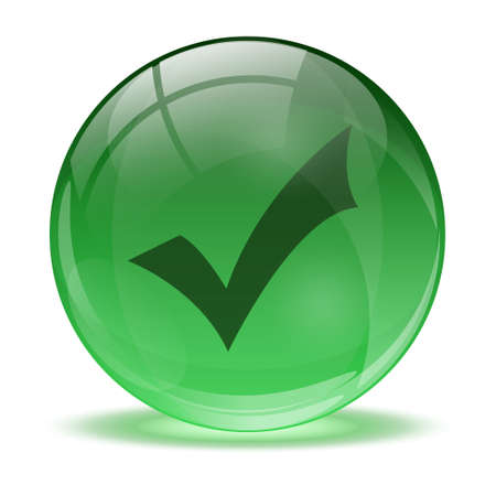 3D glass sphere and green okay icon Stock Vector - 17478872
