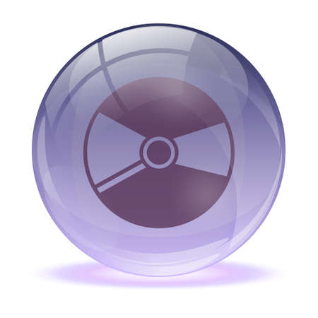 glass sphere: Esfera de cristal en 3D y m�sica cd icono Vectores