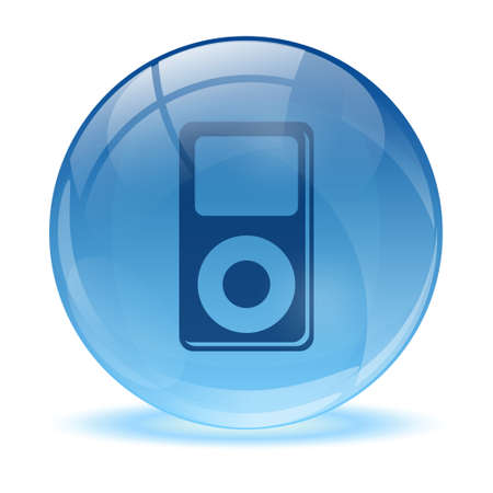 3D glass sphere and music player icon Stock Vector - 17478888