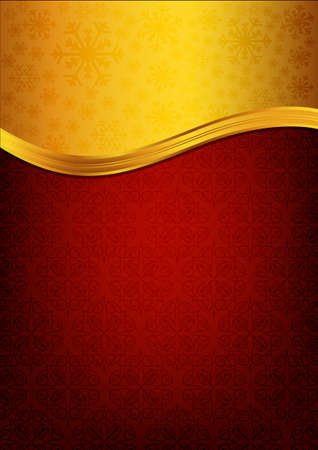 Red invitation paper decorated with floral patterns Vector