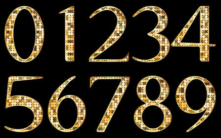 arabic number: Abstract golden numbers Illustration