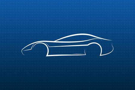 white car: Auto logo bianco sulla struttura blu