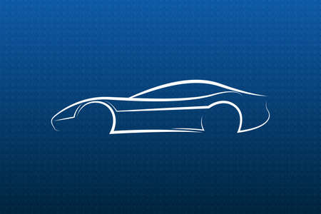 charismatic: White car logo on blue texture Illustration