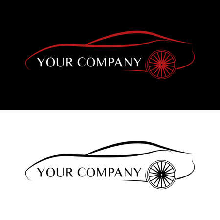 automobile industry: Red and white car logos Illustration