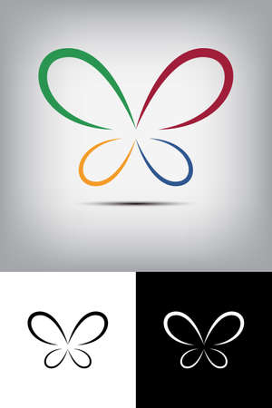 colorful butterfly: Colorful butterfly logo Illustration