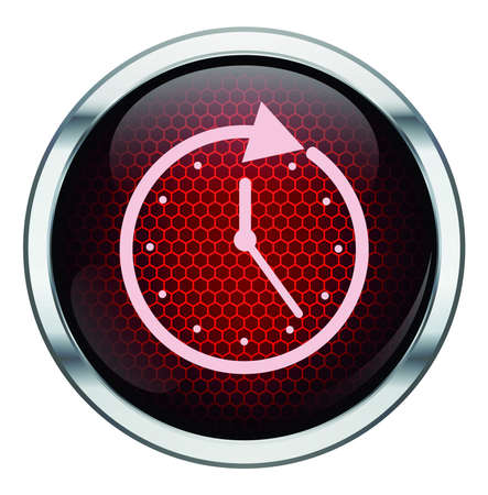 Red honeycomb clock icon Vector