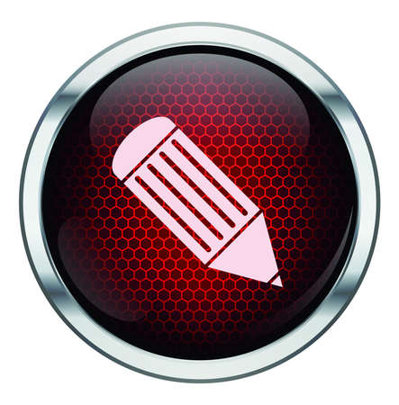 Red honeycomb pen icon Vector