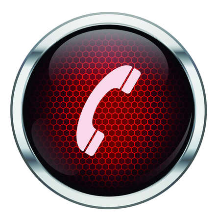 Red honeycomb phone icon Vector
