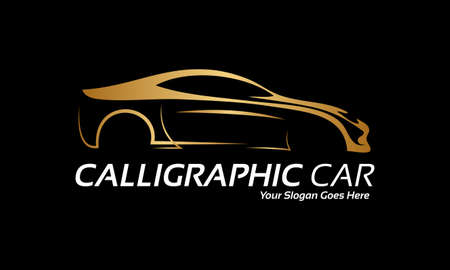 luxury travel: Calligraphic car  Illustration