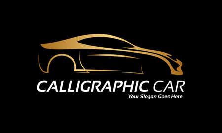 silhouette voiture: Voiture calligraphique