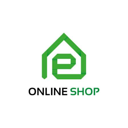 online logo: Origami online shop logo template Illustration