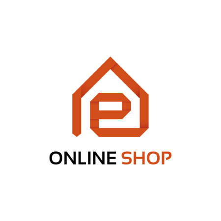 Origami online shop logo template Vector