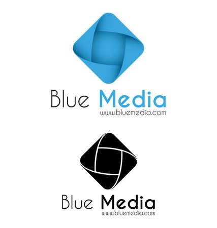 Blue media logo template Vector