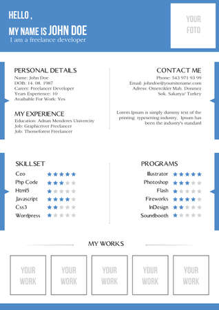 curriculum vitae: Creative blue resume Illustration