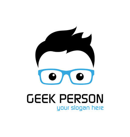 geek: Geek person logo template