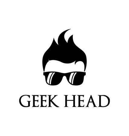 geek: Enfriar plantilla de logotipo friki
