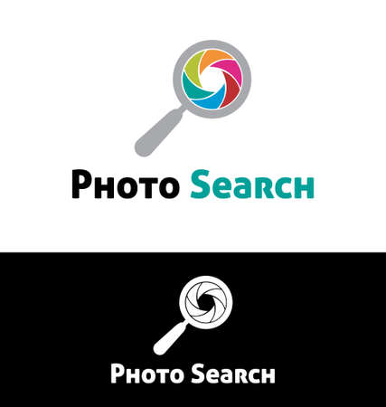 low scale magnification: Photo search logo template Illustration
