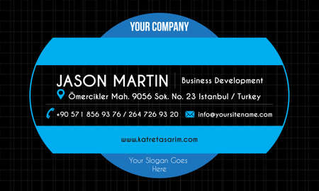 Blue creative business card Vector