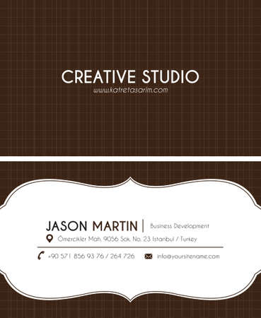 Brown creative business card Vector