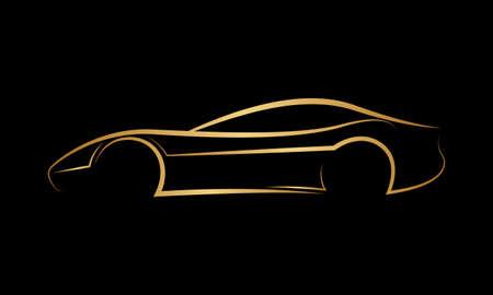 황금 추상적 차 로고