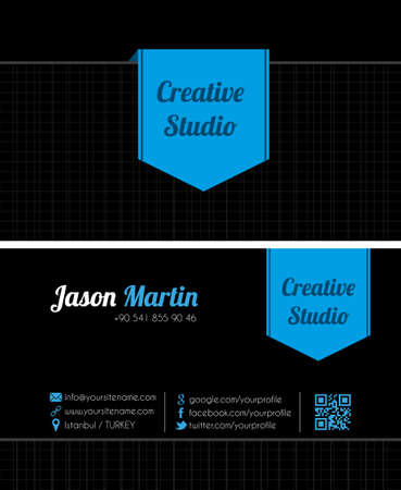 Black creative business card Vector