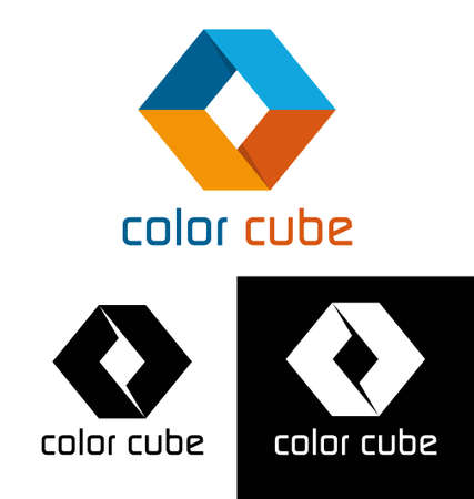 Color cube logo template Vector