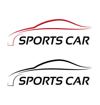 rent car: Calligraphic sport car logo template