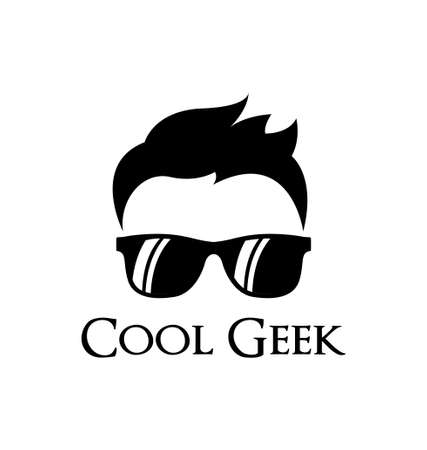 man glasses: Cool geek logo template Illustration