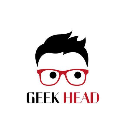 geek: Geek head logo template