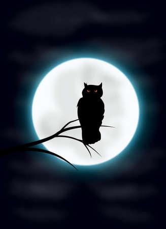 schattenbilder tiere: Spooky Nacht und Eule-Silhouette