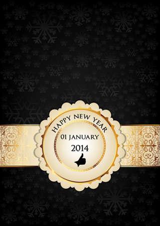 twenty thirteen: 2014 Happy new year card Illustration