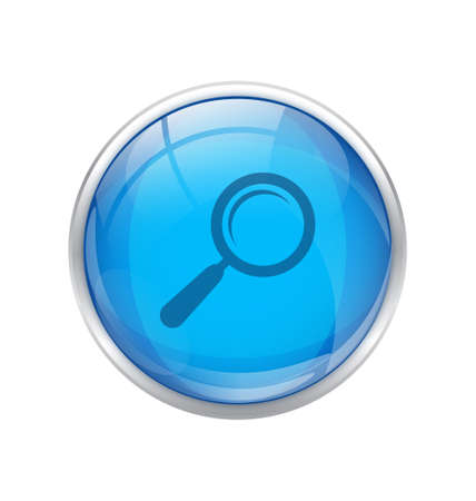 glass button: blue magnifying glass button