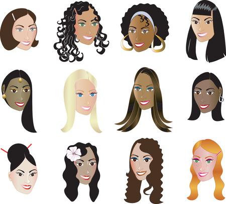african woman face: 12 Donne Faces mostrando la diversit�  Vettoriali