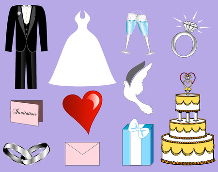 bridal: 11 Colorful Wedding Icons Illustration