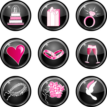 web engagement: Nine black glossy wedding web icons with hot pink.
