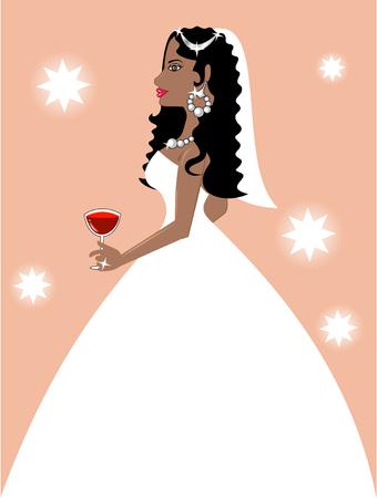 귀걸이: Vector Illustration of a Beautiful Bride at her Wedding.