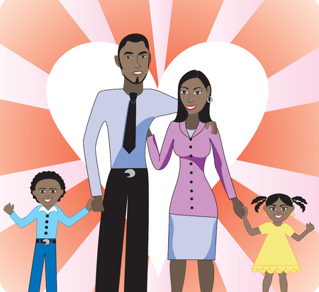 black: A beautiful family of 4 showing their love and happiness for each other. Illustration