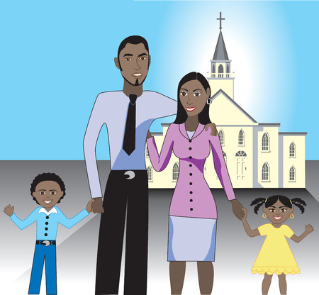 black family smiling: A beautiful family of 4 together after attending church. Illustration
