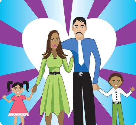 interracial: Una hermosa familia interracial de 4, mostrando su amor y felicidad, uno para el otro.  Vectores