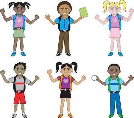 zapatos escolares: Grandes ni�os de todas las razas listas para la escuela con sus mochilas sobre.  Vectores