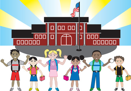 flagpoles: Kids of all ages and races ready for school with their backpacks on. Illustration
