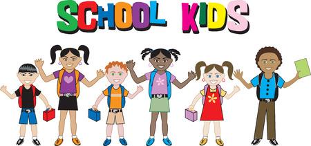 back belt: Los ni�os de todas las edades y razas listos para la escuela con sus mochilas en.