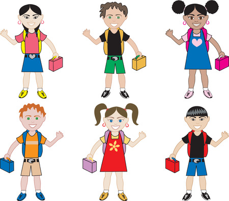 hispanics: Little Kids of all races ready for school with their backpacks on.