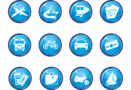 Twelve Glossy Vector Travel Icons. Illustration easy to change color. See my other images!