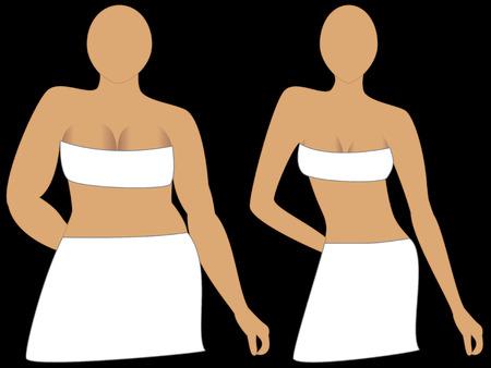 減量前に、と後。食事療法、運動や化粧品の手術のためにされる可能性があります。  イラスト・ベクター素材