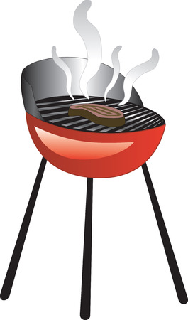 roasting: Barbecue Smoke Grill with Juicy Meat or Steak Grilling. Illustration