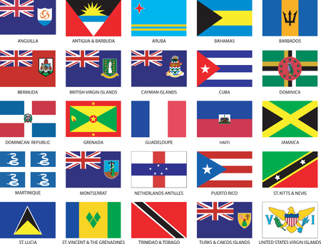 Complete set van 25 caribbean vlaggen Vector Illustratie