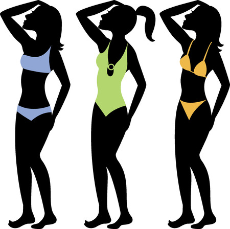 strapless: A collection of diffeterent swimsuit types. See others in this series. Illustration