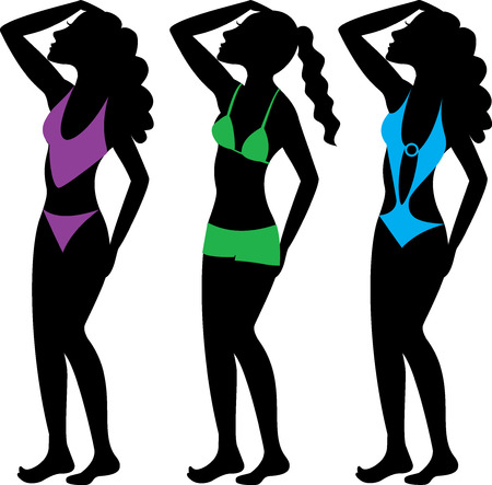 two piece bathing suit: A collection of diffeterent swimsuit types. See others in this series. Illustration